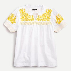 Embroidered cotton poplin puff-sleeve top